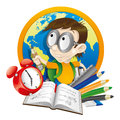 Pupil and school supplies cartoon illustration on white Stock Photo