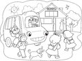 Pupilles de dessin animé sur le schoolbus Photo stock