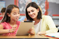 Pupils in class using digital tablet with teacher helping one to one a female student Stock Image