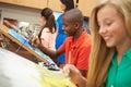 Pupils In High School Art Class