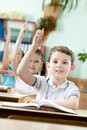 Pupils put their hands up Royalty Free Stock Photography