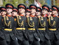The pupils of the Tver Suvorov military school on dress rehearsal of parade on red square in honor of Victory Day.
