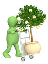 Puppet with monetary tree Stock Image
