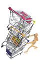 Puppetry models pushing many shopping carts the puppet at cart Royalty Free Stock Image