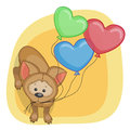 Puppy with baloons greeting card Stock Photos
