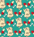 Puppy cute rest sleep relax seamless pattern. Royalty Free Stock Photo