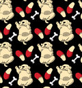 Puppy cute rest sleep relax seamless pattern dark wallpaper. Royalty Free Stock Photo