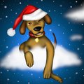 Puppy dog with santa claus hat Royalty Free Stock Photo