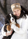 Puppy and girl Royalty Free Stock Photos