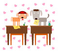 A puppy love two cartoon dogs feeling in in school class Stock Photography