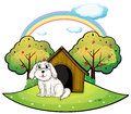 A puppy near an apple tree illustration of on white background Stock Photo