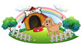 A puppy near a wooden doghouse with bone illustration of on white background Royalty Free Stock Photos