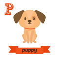 Puppy. P letter. Cute children animal alphabet in vector. Funny