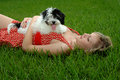 Puppy And Pretty Girl In Grass