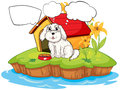 A puppy thinking near a doghouse illustration of on white background Royalty Free Stock Photo