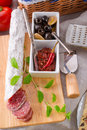 Pur porc salami and antipasti Royalty Free Stock Photo