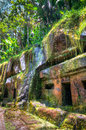 Pura gunung kawi bali indonesia buildings hewn from solid rock at s ancient monuments Royalty Free Stock Photo