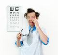 Purblind oculist funny with eyes closed Royalty Free Stock Photography