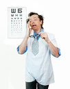 Purblind oculist funny with eyes closed Stock Photography