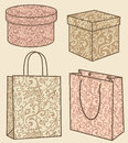 Purchase bags and boxes set Stock Images