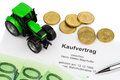 Purchase contract for new tractor Royalty Free Stock Photo