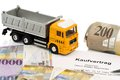 Purchase contract for new truck the a with a swiss car dealer with the swiss franc Stock Photos