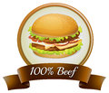 A pure beef label with a burger Stock Photography