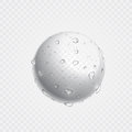 Pure clear water drops on surface. Vector realistic droplets spray.
