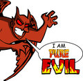 Pure evil cartoon style illustrated satan with speech bubble and i am text Royalty Free Stock Images