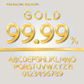 Pure gold alphabet and digit vector set of Stock Photography