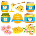 Pure Honey in bottle and jar with honeycomb