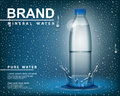 Pure mineral water ad, Transparent shine plastic bottle with drop elements on blue background. realistic 3d vector