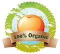 A pure organic label with an orange illustration of on white background Stock Photo