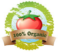 A pure organic label with a tomato illustration of on white background Stock Image