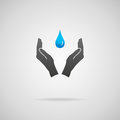 Pure water concept drinking environmental conservation and natural resources concepts vector icon of hands in protective gesture Stock Photo