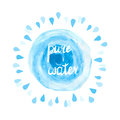 Pure water vector illustration. Watercolor blue splash and drops on white