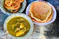 Puri sabji and potato mix curry served in a plate Royalty Free Stock Images