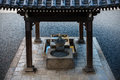 Purification fountain at shrine in Kyoto, Japan Royalty Free Stock Photo