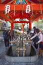Purification Ritual at Shinto Shrine Royalty Free Stock Photo