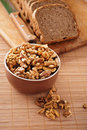 Purified walnuts, rye bread Royalty Free Stock Photo