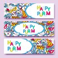 Purim coloreful banners collection