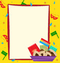 Purim note banner with a colorful background eps Stock Images