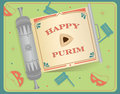 Purim scroll an open with happy text on it eps Royalty Free Stock Photography