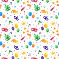 Purim seamless pattern with carnival watercolor elements. Jewish festival, endless background, texture, wallpaper