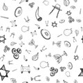 Purim seamless pattern set, great design for any purposes. Isolated seamless pattern on white background. Hanukkah doodle set. Fun