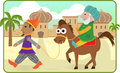 Purim story mordechai rides a horse lead by haman eps Royalty Free Stock Photo