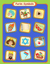 Purim symbols cute holiday eps Stock Images
