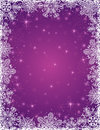 Purple background with frame of snowflakes vecto vector illustration Stock Photography