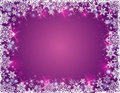 Purple background with frame of snowflakes vector illustration Stock Photography