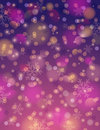 Purple background with snowflake and bokeh, vector